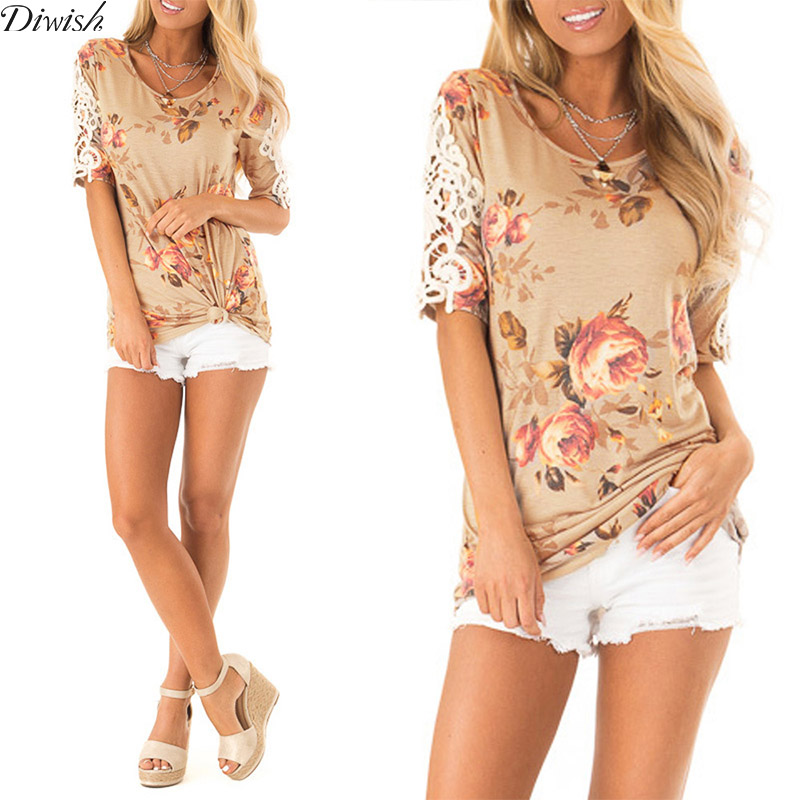 Diwish New Arrival Women Floral Tshirts And Tops Sexy Fashion Lace Print Top Tshirts Short Sleeve O-Neck Tee Shirts Women