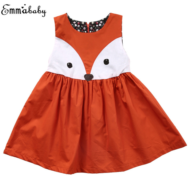 f72ba1ce2df9f 1 5Y Girls Dress Kawaii Fox Baby Girl Clothes Toddler Kids Fox Dress ...