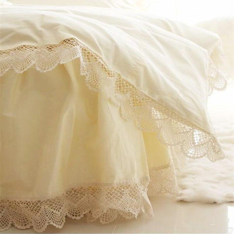 €87 23 10% de réduction|Style européen romantique ensemble de literie  Crochet dentelle housse de couette princesse literie brodé drap de lit  couvre