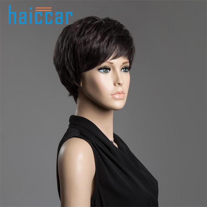 цена на New Spiffy Short Cut Straight Layered Black Human Hair Short Hair Wig For Women Ju 27