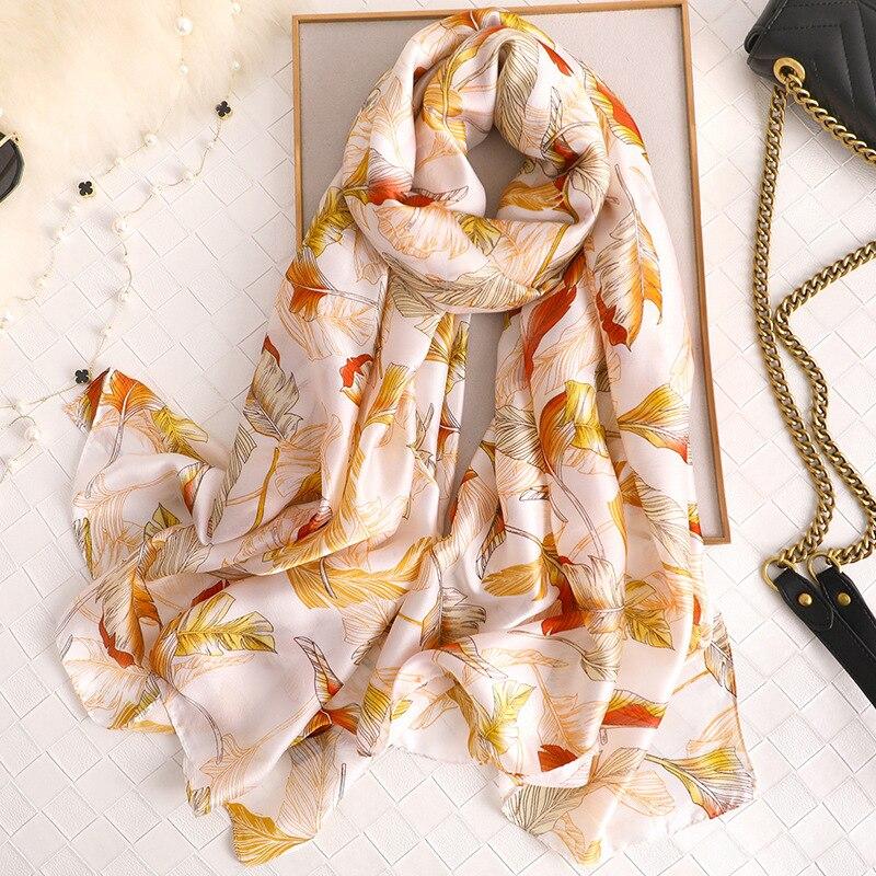 Fashion Scarves for Women Leaf Printing Long Soft Shawl Luxury Brand Hijab Scarf Ladies Chiffon Silk Ponchos Capes