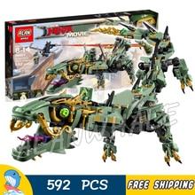592pcs New Green Ninja Mech Dragon Gooden East 06051 Model Building Blocks Children Assemble Toys Bricks Compatible With lego