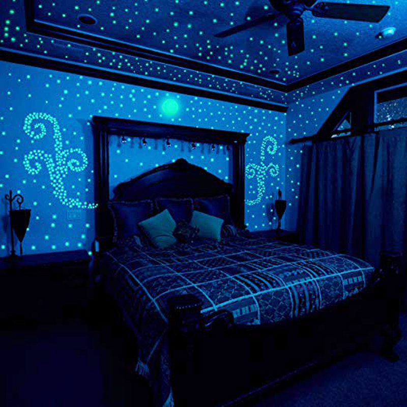 100pcs Luminous Stickers Glow In The Dark Stars Sticker Toys Decals For Kids Baby Rooms Colorful Fluorescent Home Cartoon Hats