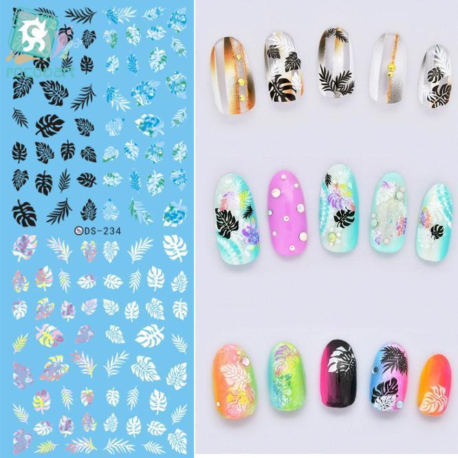 ds238 diy designer beauty water transfer nails art sticker pineapple rabbit harajuku nail wraps foil sticker taty stickers Rocooart DS234 Factory Designer Water Transfer Nails Art Sticker Little Leaves harajuku Nail Wraps Sticker French stickers