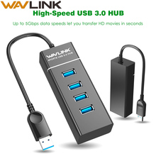 Wavlink High Speed USB3.0 Hub 4port Splitter Hub 5Gbps Cable Adapter Portable Data Hub for Windows / Mac OS / Linux / Android