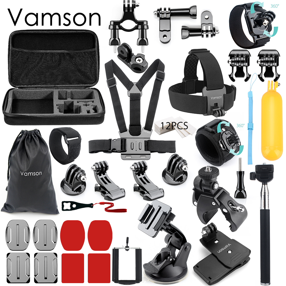 Vamson for Gopro Hero 6 5 4 3 Accessories kit Suction Cup Head Strap Waterproof Storage Bag Mount for Xiaomi Sport Camera VS65