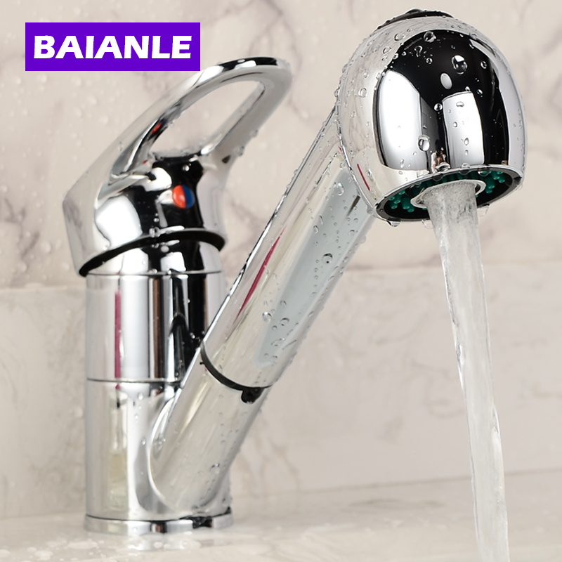 Kitchen Faucet Single Holder Single Hole Cold and Hot Water Faucet Spool Pull Out and Rotate