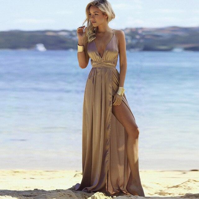 2018 mujeres vestidos de verano Sexy playa vestido dorado cuello en V espalda descubierta Split Robe Longue Femme sólido elegante vestido de fiesta