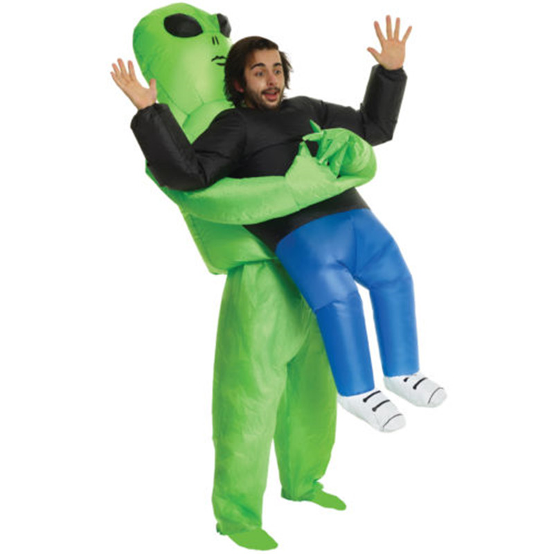 2018 NEW Inflatable Monster Costume Scary Green Alien dinosaur Mascot Cosplay Costume for Adult animal Halloween Purim Party