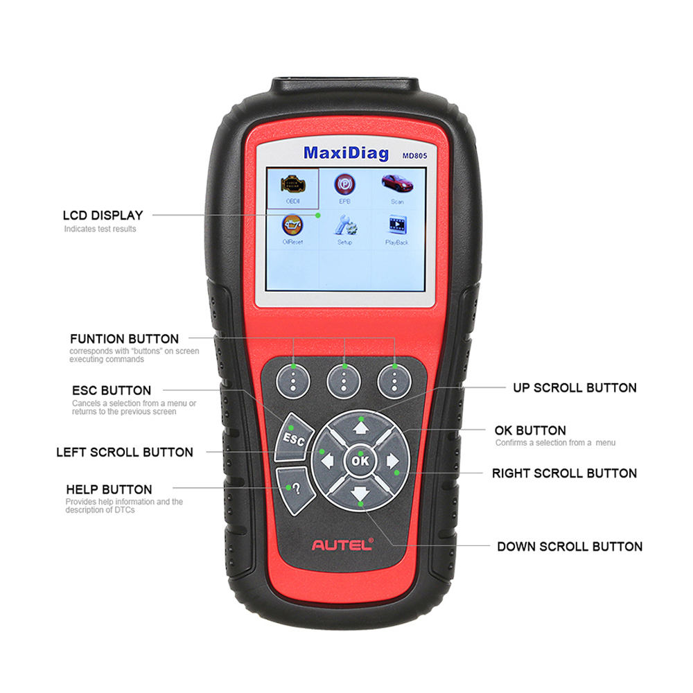 Image 2 - New Autel MaxiDiag MD805 Full System OBD2 Scanner Car Diagnostic Tool Code Reader Scaner better than Autel MD802 Update Online
