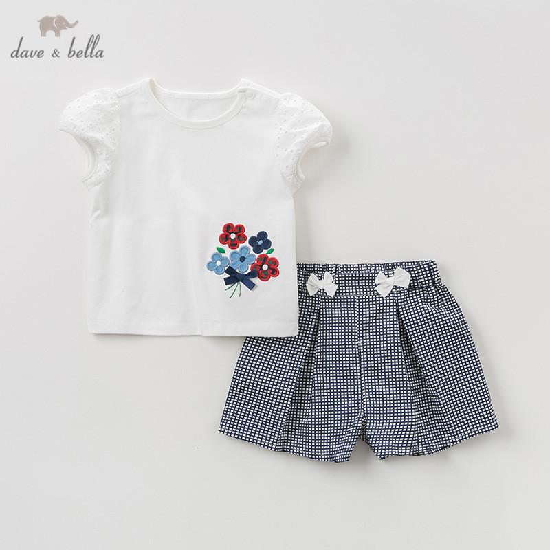 DB10500 Dave bella summer baby girl clothing sets cute floral children suits infant high quality clothes