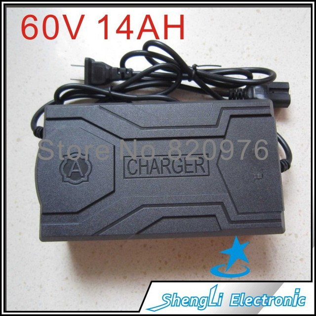 Smart electric motorcycle battery charger 60V 14AH Electric motorcycle power adapter DC Jack is Square head+Free Shipping