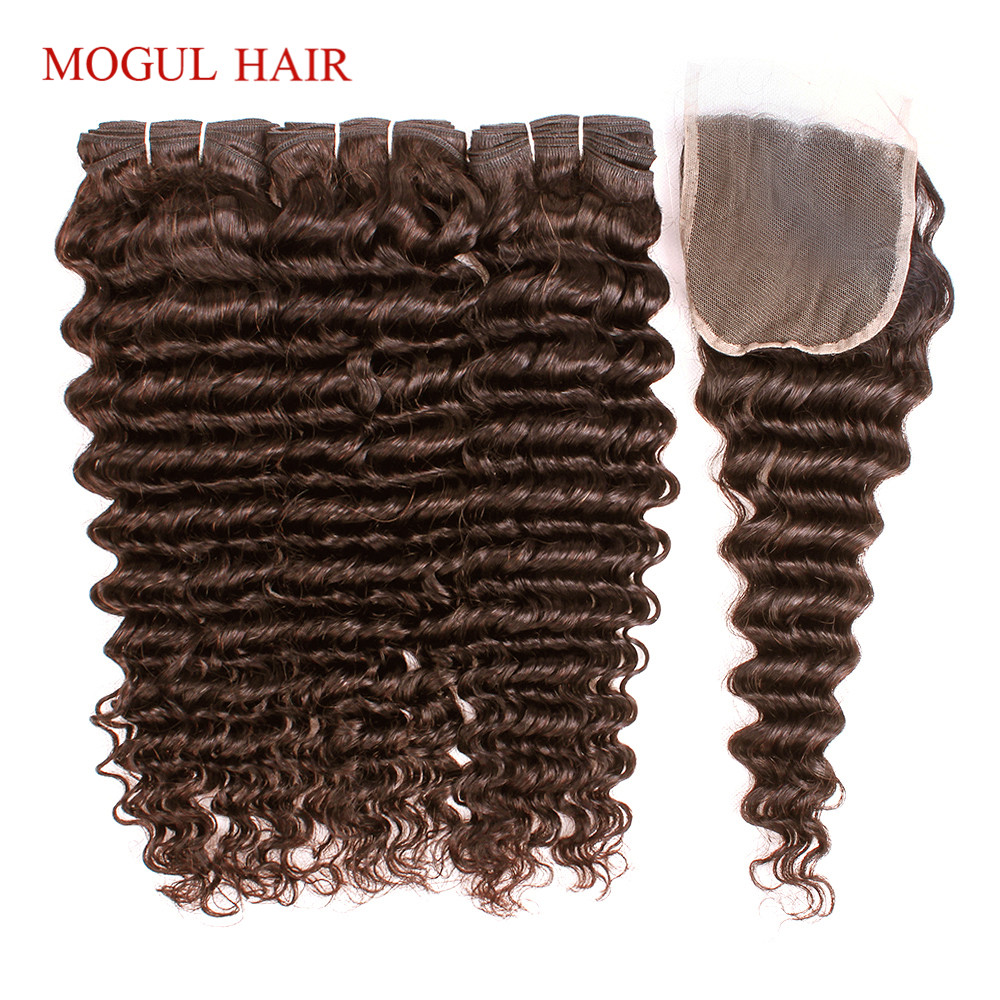 MOGUL HAIR Chocolate Brown Color 4 Brazilian Deep Wave Bundles With Closure 10-24 Inch Non Remy Human Hair Weave 2/3 Bundles