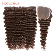 Weave Closure Chocolate Deep-Wave-Bundles Human-Hair Brown Brazilian Remy Color 4