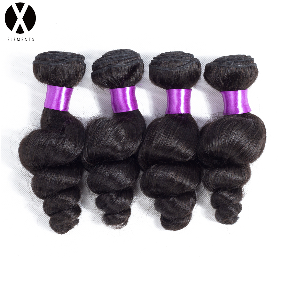 X-Elements Hair Peruvian Loose Wave Hair Bundles 4 Bundles Human Hair Extensions Non-Remy Natural Color Hair Weaves 8-26 Inch