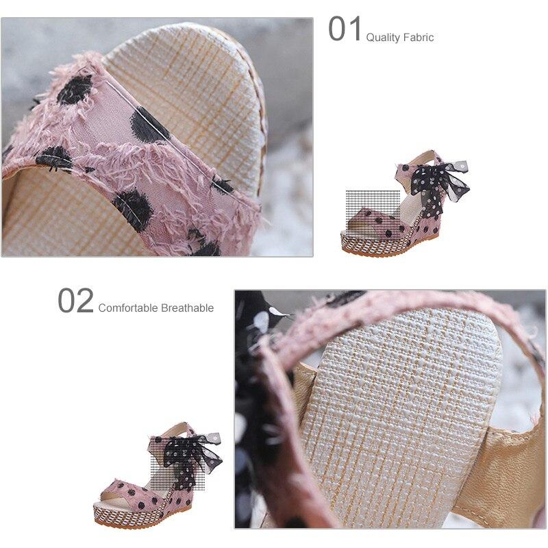 HTB1Wo3gXRiE3KVjSZFMq6zQhVXaM Women Sandals Dot Bowknot Design Platform Wedge Female Casual High Increas Shoes Ladies Fashion Ankle Strap Open Toe Sandals