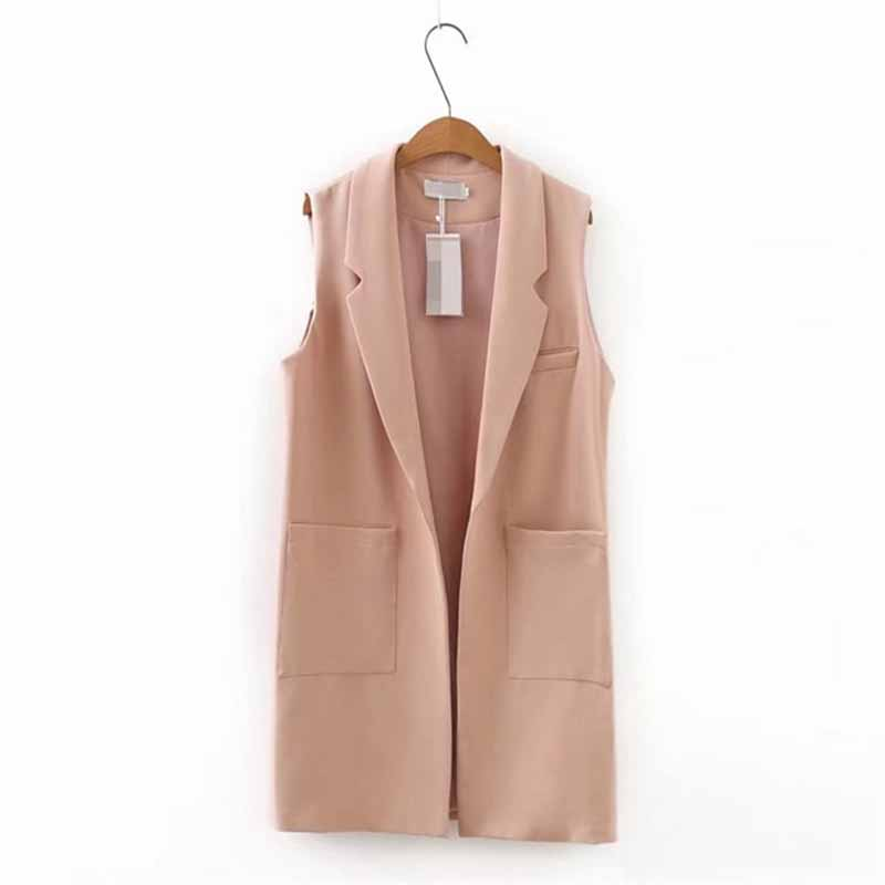 Plus Size XXL-5XL Sleeveless Jacket Vest Women 2019 Spring Fashion Solid Color Colete Big Pocket Cardigan Casual Tops Female G56