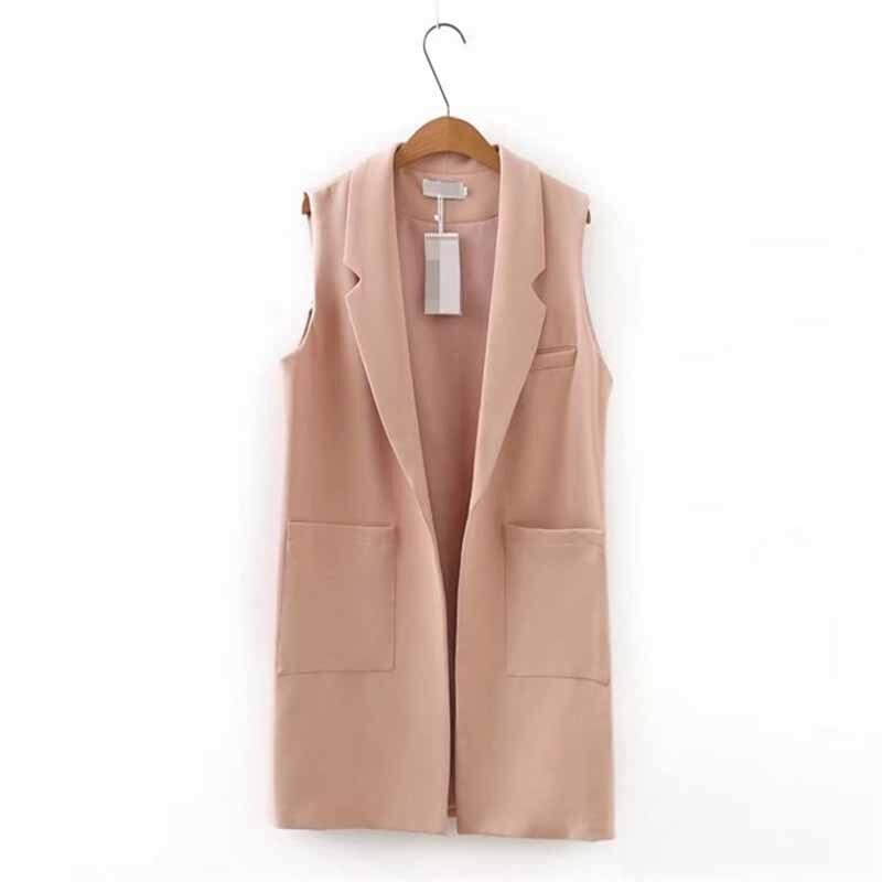 Plus Size XXL-5XL Sleeveless Jacket Vest Women 2019 Spring Fashion Solid Color Colete Big Pocket Cardigan Casual Tops Female G56