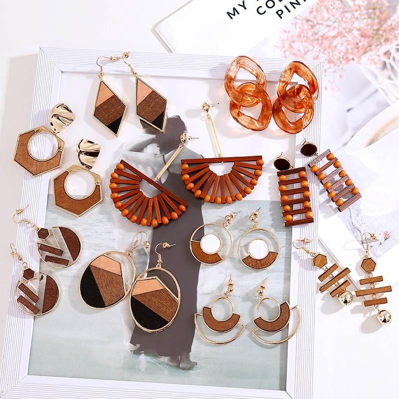 Vintage Creative Ethnic Wooden Drop Earrings For Women 2019 Fashion Boho Round Semicircle Geometric Dangle Earring Jewelry Gifts
