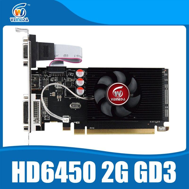 Original GPU Veineda tarjetas gráficas HD6450 2 GB DDR3 HDMI gráfico tarjeta de vídeo PCI Express para ATI Radeon de juego