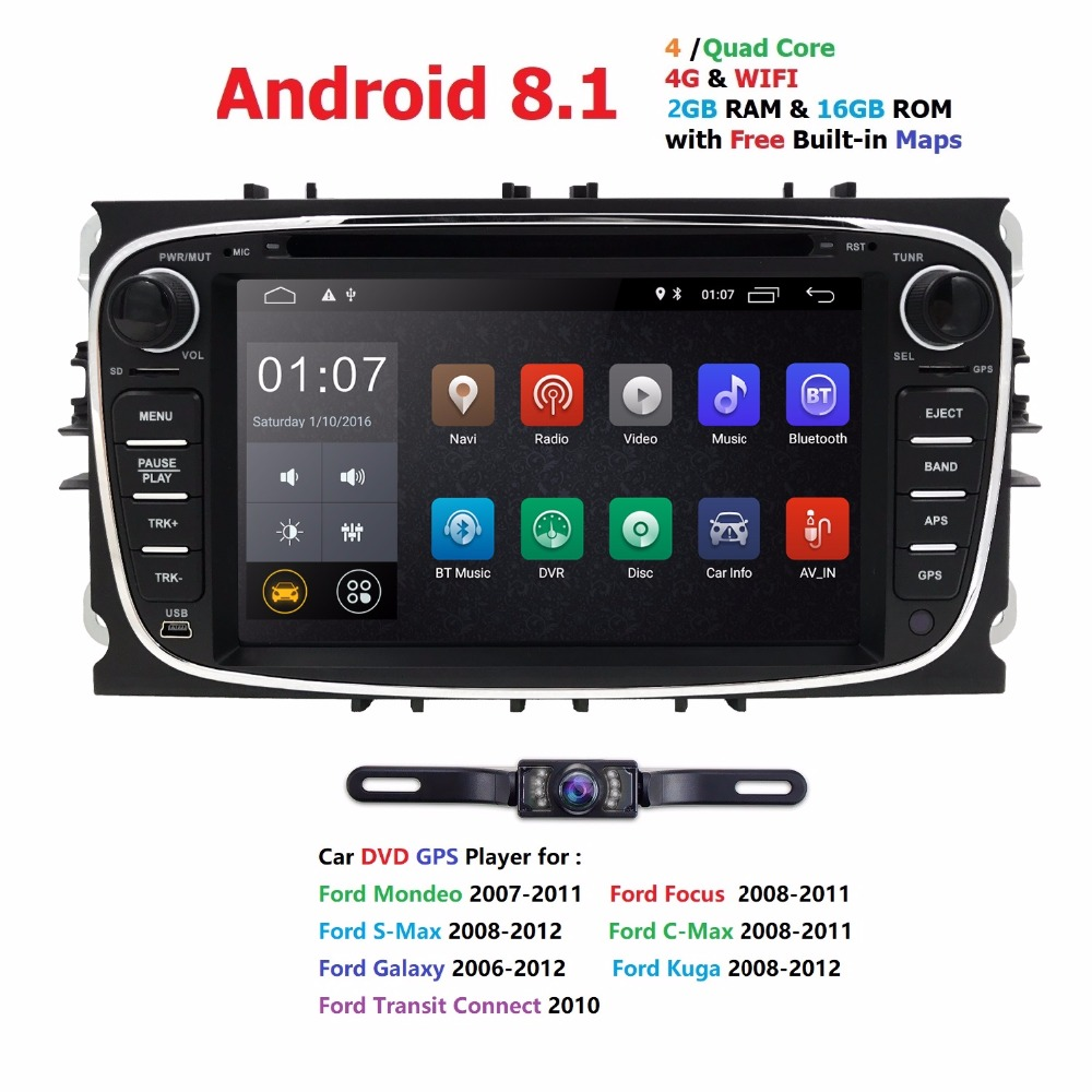 2 din Android 8.1 Quad Core Car DVD Player GPS Navi for Ford Focus Mondeo Galaxy with Audio Radio Stereo Head Unit Free Canbus