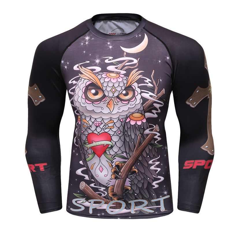 ضغط قميص الرجال قاعدة طبقة الصيف طويلة الأكمام 3D طباعة الحرارية تحت MMA Rashguard الجوارب الجلد رجل T قميص كودي LUNDIN