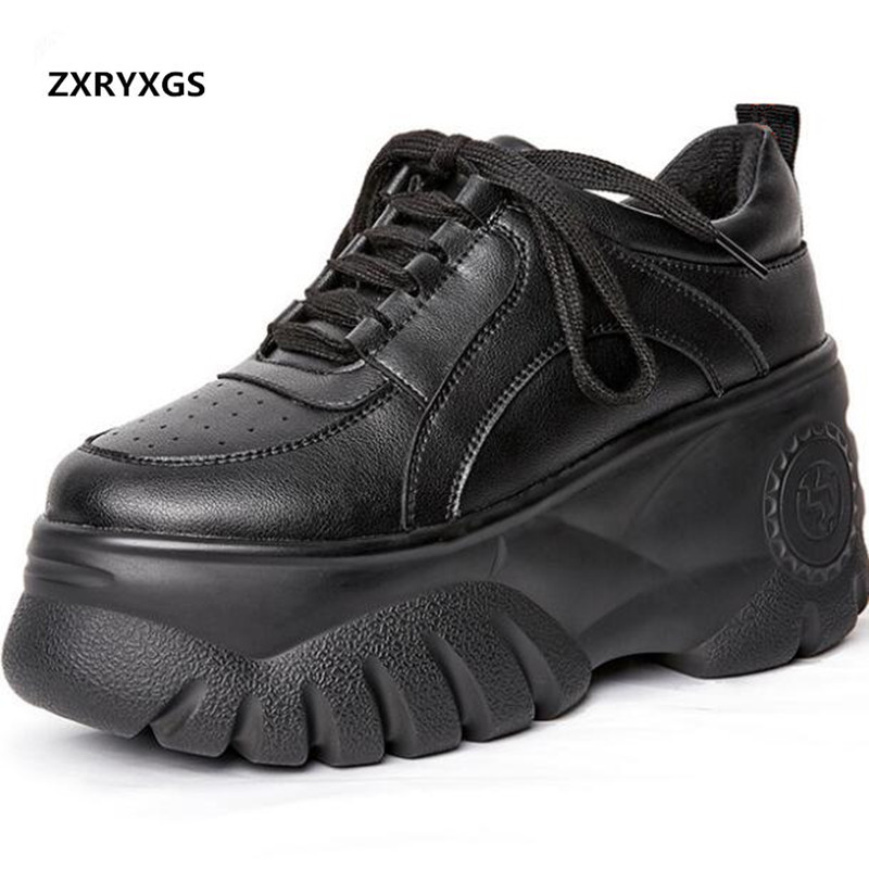 Newest Thick-soled Platform Shoes Shoes Woman High Heels 2019 Famous Spring Lace-up Casual Sneakers Genuine Leather Shoes WildNewest Thick-soled Platform Shoes Shoes Woman High Heels 2019 Famous Spring Lace-up Casual Sneakers Genuine Leather Shoes Wild