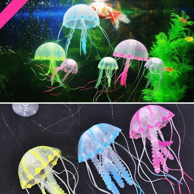 silicone glowing artificial jellyfish ornament magic fish tank