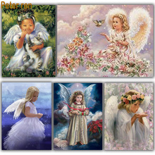 Diy diamond mosaic Portrait Series full embroidery Angel 3d square painting icons Fly Girl pictures of beads
