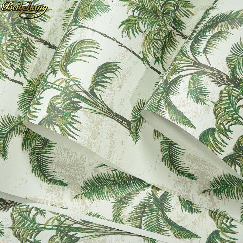 Beibehang style sud-est asiatique vert noix de coco papier peint pur chambre chevet salon TV toile de fond papel de paredeBeibehang style sud-est asiatique vert noix de coco papier peint pur chambre chevet salon TV toile de fond papel de parede