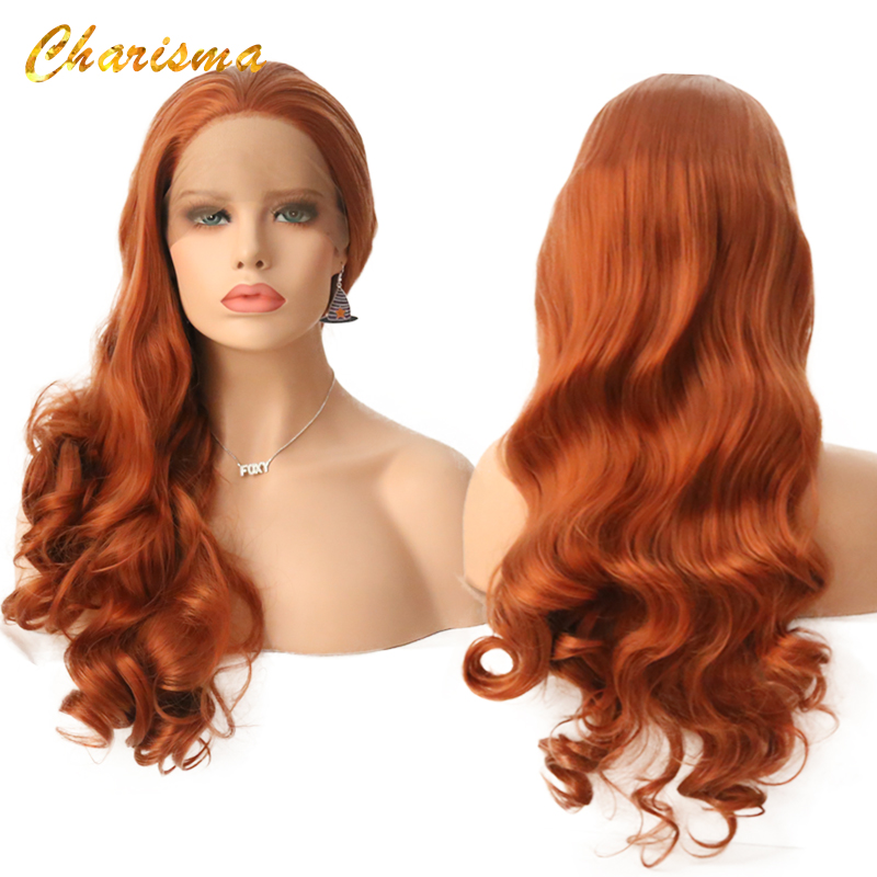 Charisma Fashion Wig Long Orange Synthetic Lace Front Wigs With Baby Hair High Density Glueless Body