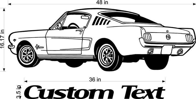 2016 New Custom Text Ford Mustang Car Racing Vinyl Wall Decal Art Sticker Man Cave Decor Boys Room Home Decor