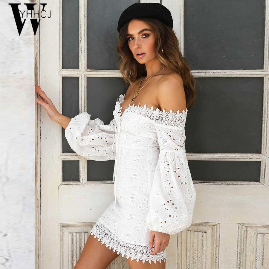 WYHHCJ Белый Вышивка Элегантные весенне-летние бандажные платья для женщин пляжный сарафан сексуальный с открытыми плечами Короткие вечерние облегающие платья