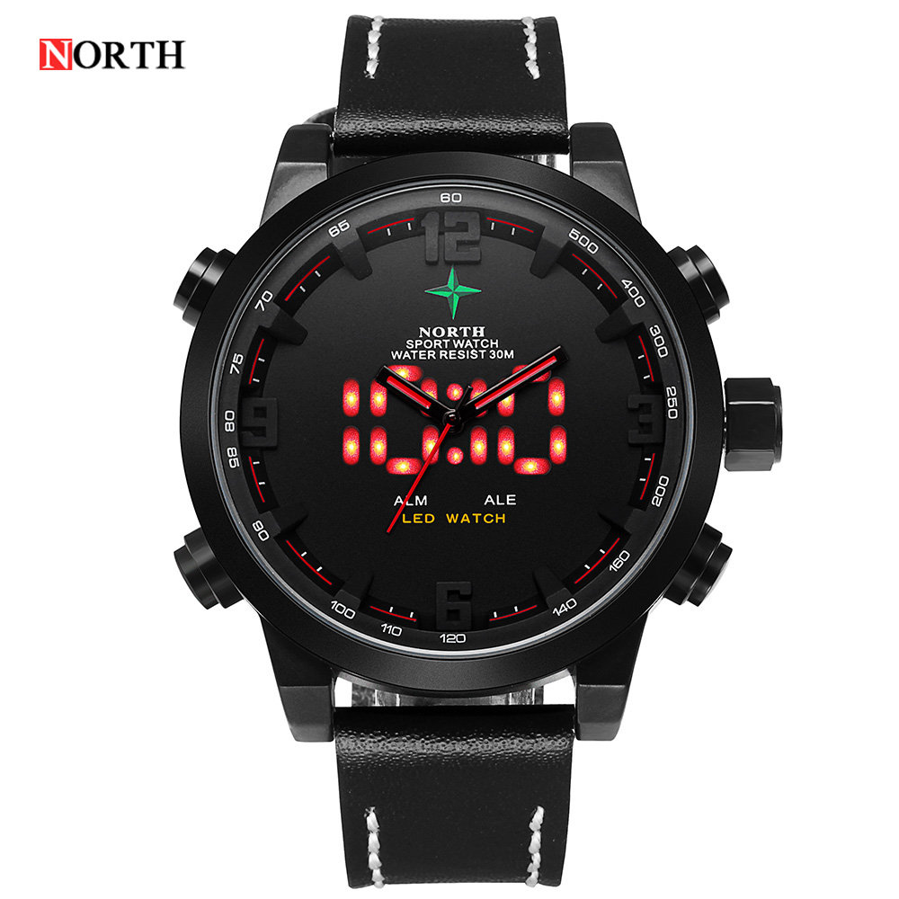 Reloj Hombre 2016 Man Clock Male Military Original North Sports digital Watch For Men LED Analog Date Alarm Back Light Display ohsen lcd dual core analog digital sports watch men alarm date week stopwatch back light watch rubber band military wrist watch