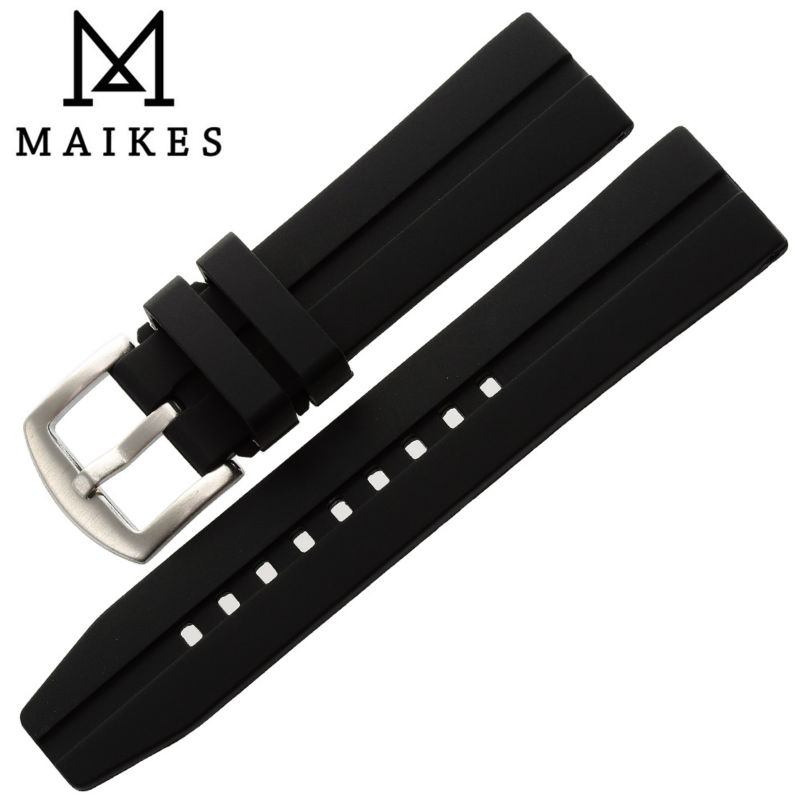 MAIKES New 20 22 24 mm Watchbands Accessories Silicone Rubber Watch Band Strap Black Watches Bracelet Belt For Sports Watch maikes 18mm 20mm 22mm watch belt accessories watchbands black genuine leather band watch strap watches bracelet for longines