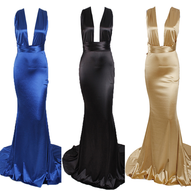 2019 Sexy Mermaid Satin Dresses Floor Length Evening Party Dress Hollow Out DIY Straps Bodycon Backless Evening Gown Dress 5