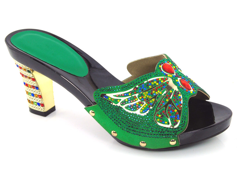 ФОТО African green Rhinestones Woman Shoes High Heels Sandals Women Pumps Wholesale DG1-4