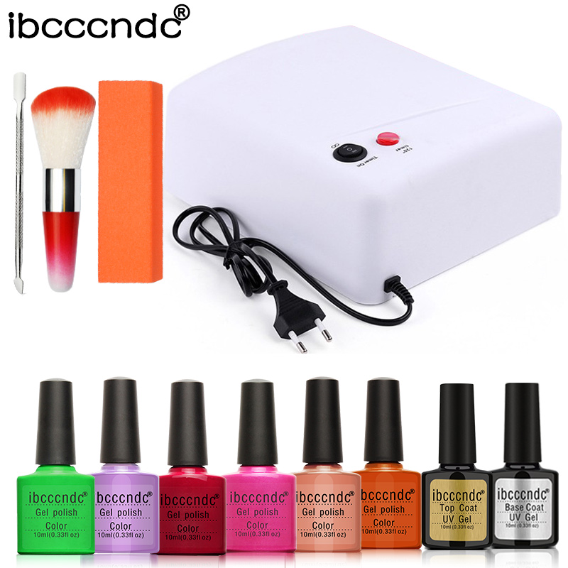 Nail Art Manicure Tools 6pcs IBCCCNDC Pure Color Nail Gel Polish + Base Top Coat UV LED Lamp With Polishing Block Dust Brush