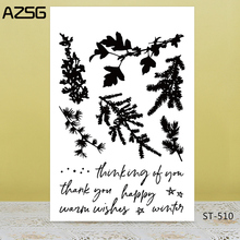 AZSG Various Pine Leaves Clear Stamps/Seals For DIY Scrapbooking/Card Making/Album Decorative Silicone Stamp Crafts