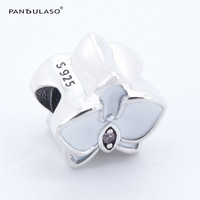 Pandulaso White Orchid 925 Sterling Silver Jewelry Beads DIY Making Fit European Charm Bracelet Necklace Wholesale