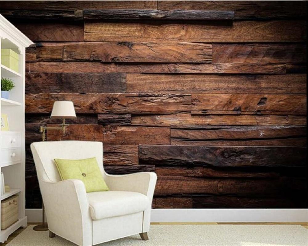 Papel De Parede Customize Ceiling 3D Wallpaper Dark Retro Nostalgic Striped Living Room TV Wall Wall Papers Home Decor Beibehang