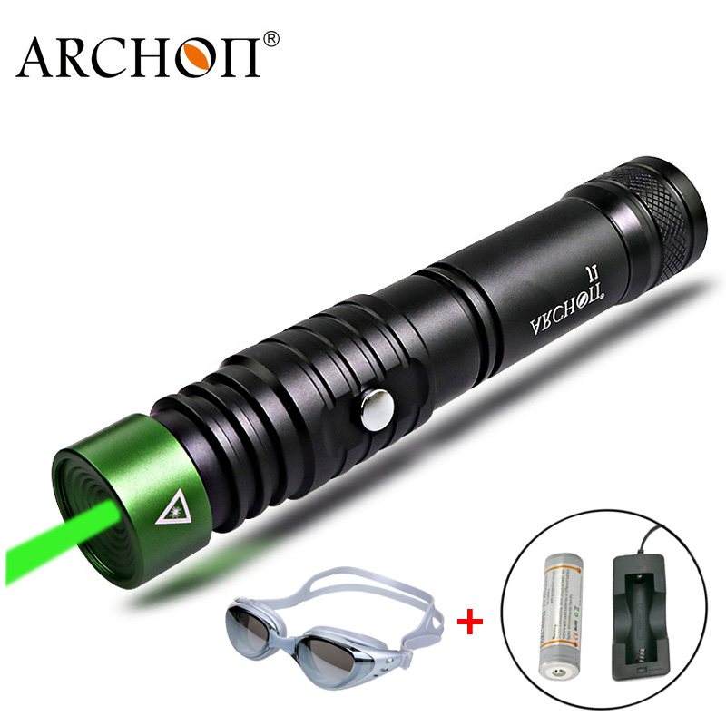 Diving Laser Pointer Green Laser Flashlight ARCHON J1 Pointers Torch Underwater 100 Meters Powerful LED Light 18650 Dive Lamp