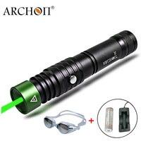 Дайвинг лазерная указка зеленый лазерный фонарик ARCHON J1 указатели факел Подводный 100 метров Мощный светодиод 18650 лампа для дайвинга