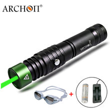Diving Laser Pointer Green laser Flashlight ARCHON J1 Pointers Torch underwater 100 meters Powerful LED light 18650 dive lamp(China)