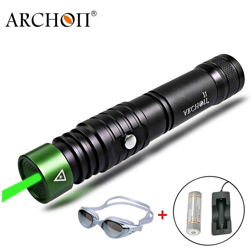 Plongée Laser pointeur vert laser lampe de poche ARCHON J1 pointeurs torche sous-marine 100 mètres puissant lumière LED 18650 lampe de plongée