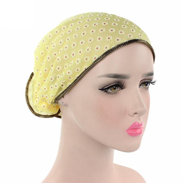 cf2d1248986 Online Shop Helisopus 2019 Women s Cap Floral Lace Lady Turban Hat ...