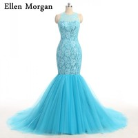 Baby Blue Mermaid Prom Dresses 2018 Sexy Simple African Black Girls Tulle Lace Vintage Long Real Pictures Vestido Formatura
