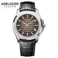 AGELOCER Ngày Men Xem Thụy Sĩ Nổi Tiếng Top Luxury Hiệu Không Thấm Nước Sáng Kinh Doanh Nam Clock Leather Wrist Mens Đồng Hồ Quà Tặng