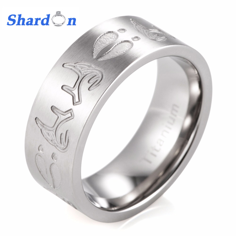8MM Flat Titanium Deer Antlers &Tracks Outdoor Hunting Wedding Band With Stain Finishing
