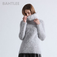 BAHTLEE 2018 Autumn winter women's angora rabbit turtleneck pullovers knitting sweater short style fashion brand keep warm
